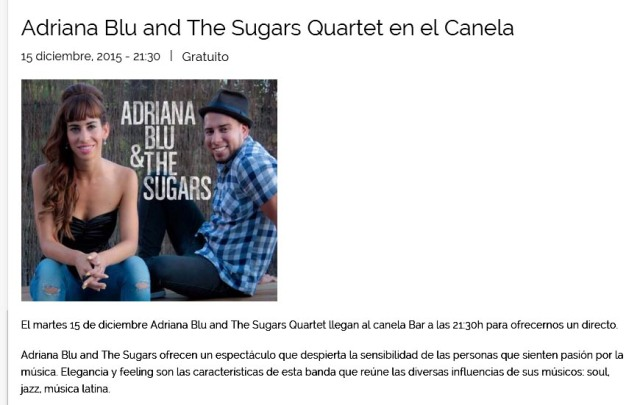 Adriana Blu and The Sugars Quartet